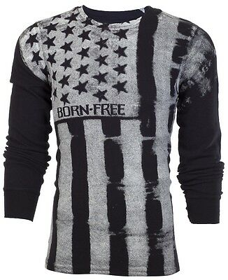 Flag Thermal Shirt - Archaic AFFLICTION Men THERMAL Shirt UPRISING American Custom USA FLAG Biker $58