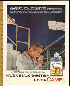 1958 full-page Camels magazine ad with Lew Burdette