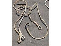 Pair of mooring securing ropes