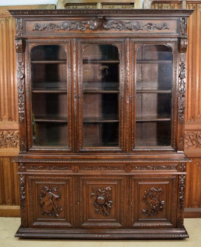 Antique French Renaissance Revival Bookcase/Buffet/Back Bar in Oak