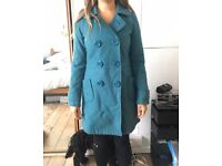 Teal Double Breasted Coat, size M