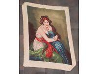Handmade Needlepoint Gobelin (Tapestry) Vigée Lebrun self-portrait with daughter