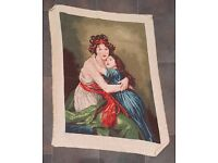 Handmade Needlepoint Gobelin (Tapestry) Vigée Lebrun self-portrait with daughter