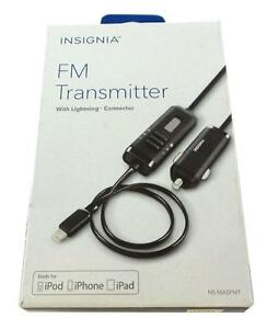 Insignia Lightning FM Transmitter. Charge iPhone and Play Music in Car Stereo. 12W. Apple MFi Certified. NEW