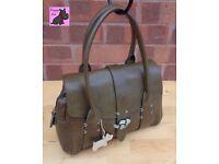 RADLEY - Medium 'Marsden' Dark Olive Leather Grab Bag *Excellent Condition*