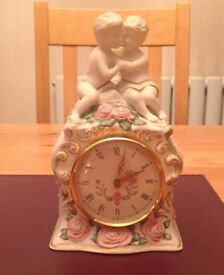 Hand painted clock - Franklin Mint limited edition 'The First Embrace'