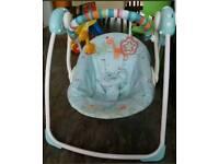 Baby swinging chair and bath tub