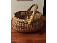 FREE~ vintage basket, orange trim, small for blackberrying, gardening etc