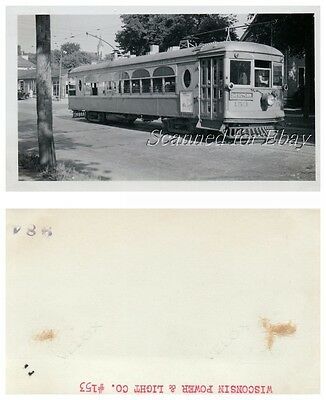 Wisconsin Power   Light Trolley  153 Vintage Photo