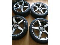 """4 Set Alloy Wheels Mercedes SLK55 R172 18"""" AMG 5 Spoke Alloys"""