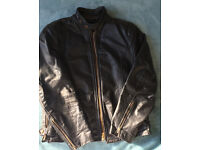 Vintage 1960's Cafe Racer Black Leather Jacket * Size Medium/Fits chest 38/40 * Has minor flaws