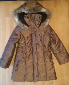 DKNY Girls Brown-Bronze Winter Jacket Age 4