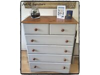 Pine Chest Of 2 Over 4 Drawers Hand Painted in ANNIE SLOAN Paris Grey Chalk Paint.