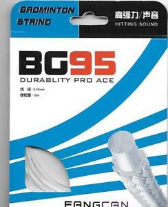 PRO ACE BG95  BADMINTON STRING SETS, WHITE , 6 SETS PACK