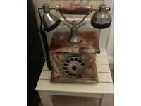 Vintage Onyx Marble Brass Telephone