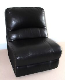 FURNITURE VILLAGE RONSON BLACK REAL LEATHER CORNER SOFA SEAT 80CM MINT CONDITION