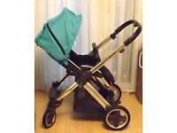 BABAYSTYLE OYSTER PRAM ,WITH BRITAX CARSEAT + ADAPTORS RADLEY BABY BAG ,RAINCOVER ,ETC