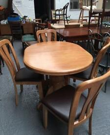 ** BEECH DINING TABLE & CHAIRS IN EXCELLENT CONDITION - CAN DELIVER **