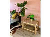 Vintage Bamboo Cane Rattan Wicker Tiki Boho Coffee Conservatory Table CF3 2UW
