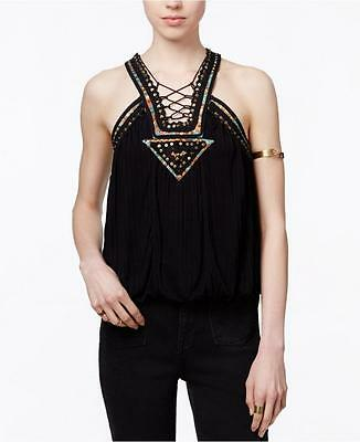 FREE PEOPLE MS SIZE LARGE BLACK DAKOTA EMBELLISHED LACE UP FASHION TANK TOP