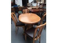 ** BEECH DINING TABLE & CHAIRS - CAN DELIVER **