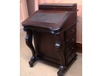 Repro Solid Mahogany Davenport Desk, Black Leather Insert, Excellent Condition – Collect BA2 2UT