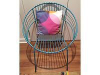 Vintage 1960's retro atomic style Turquoise wrought iron circular chair outdoor/indoor
