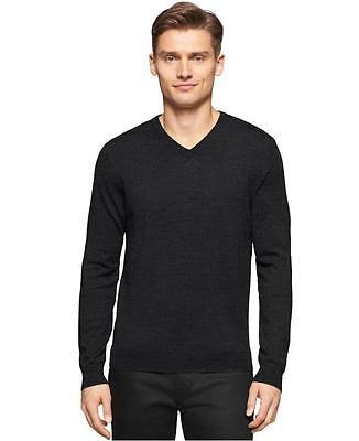 Calvin Klein Men's Merino Wool V-Neck Sweater, Black , Size M