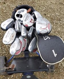 Nike golf bag and full set of clubs and accessories (includes trolley)