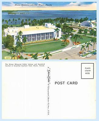 Memorial  Library Building Illustration Miami Florida Postcard - Architecture