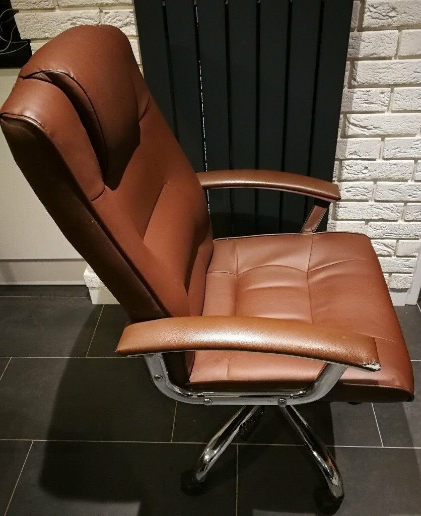 brown leather office desk chair loughborough leather faced