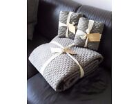 'WEST ELM' - BRAND NEW - Gorgeous Quilted Bed throw and 2 extra large square cushion covers - £75.00