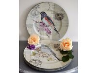NEW Set of 7 Shabby Chic Place Mats 33cm Kitchen Dining Birds Cage Acrylic Round