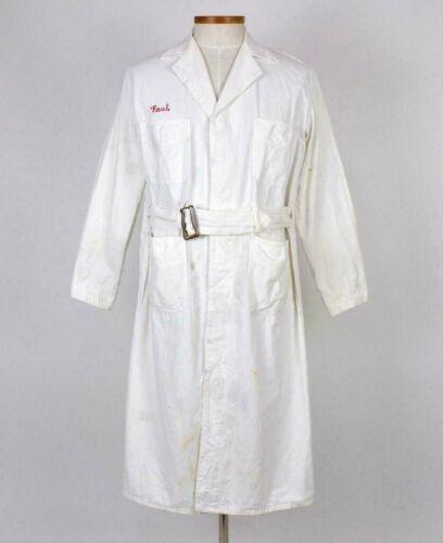 Vtg 50s Burlington White Lab Coat Trench Duster Shirt Jacket Belted Waist Mens M