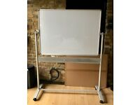 Revolving mobile magnetic White board on wheels 1200 x 900mm
