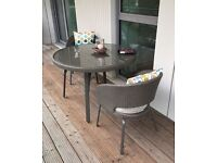 John Lewis Balcony furniture Round 4-seater Table + 2 Chairs + Wicker / Rattan + Brown + Cover