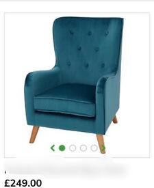 2 x brand new stunning blue button back armchair bargain