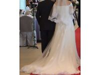Lovely 3/4 lace sleeves wedding dress UK size 8-10 free veil