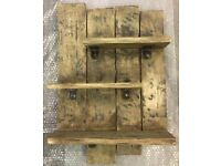 Upcycled rustic shelving unit.