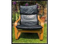 IKEA Poang Chair, Black Leather