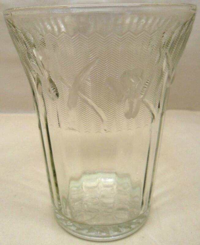 "Antique Jeannette IRIS CRYSTAL VINTAGE 4"" FLAT WATER TUMBLER*-Free Ship"
