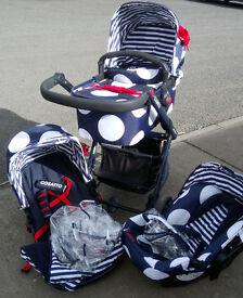 Navy/White Spot/Red Bow Giggle Travel System - Pram, Pushchair Car Seat