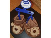 rand new padders brown monkey sock top shoes 0 - 3 months