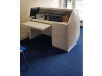 Cheap! Administrator's white desk/reception furniture!