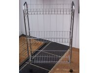 THREE TIER TUBULAR CHROME VEGETABLE RACK, GOOD CLEAN USED CONDITION, ONLY £8, DELIVERY EXTRA