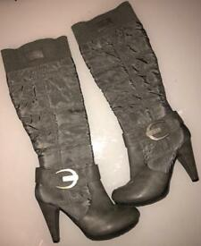 Grey Fabric Rouched Boots