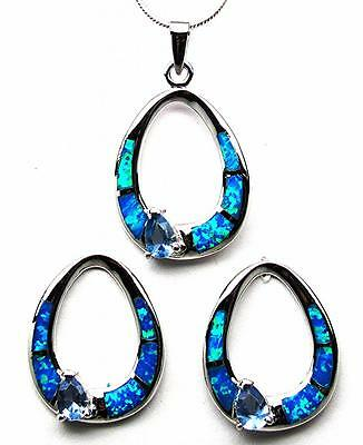 "Tanzanite Blue Fire Opal Inlay 925 Sterling Silver 18"" Necklace Earrings Set NEW"