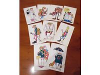 Set of nine 'Kardorama' seaside style postcards.