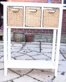 Cream console table with 3 basket drawers