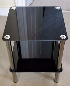 Premier Housewares 2-Tier End Table with Black Glass Shelves and Chrome Frame
